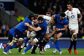 Courtney Lawes of England and Loann Goujon of France battle for the ball during the RBS Six Nations match between England and France at Twickenham...