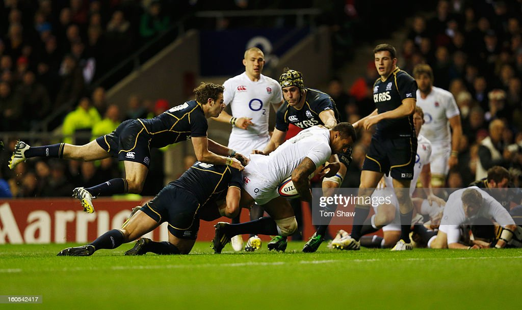 Courtney Lawes of England dives for the try line, but falls short during the RBS Six Nations match between England and Scotland at Twickenham Stadium on February 2, 2013 in London, England.
