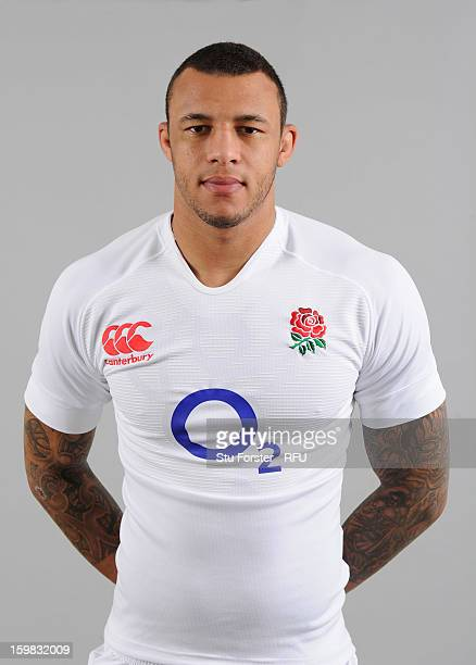 Courtney Lawes of England poses for a portrait during the England rugby union squad photo call at Weetwood Hall on January 21 2013 in Leeds England