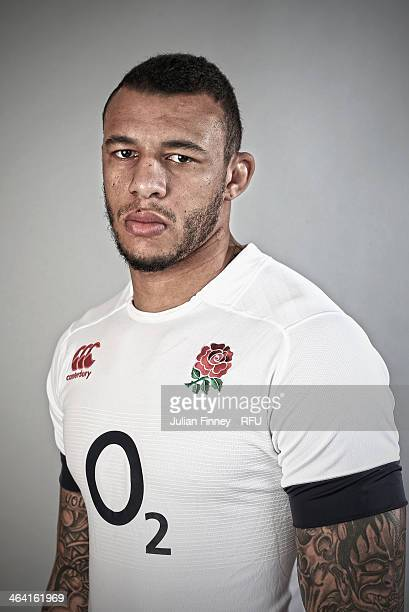 Courtney Lawes of England poses for a portrait during the England Six Nations Squad Photo Call at the Penny Hill Hotel on January 20 2014 in Bagshot...