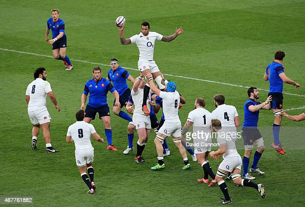 Courtney Lawes of England wins lineout ball during the RBS Six Nations match between England and France at Twickenham Stadium on March 21 2015 in...