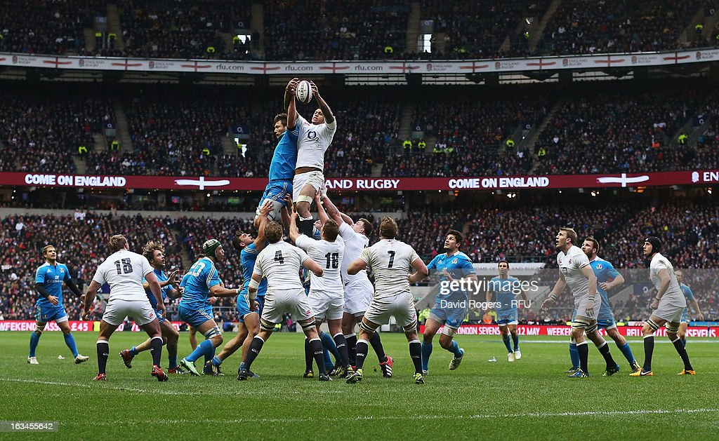 <a gi-track='captionPersonalityLinkClicked' href=/galleries/search?phrase=Courtney+Lawes&family=editorial&specificpeople=5385543 ng-click='$event.stopPropagation()'>Courtney Lawes</a> of England wins the Italian line out towards the end of the match during the RBS Six Nations match England and Italy at Twickenham Stadium on March 10, 2013 in London, England.