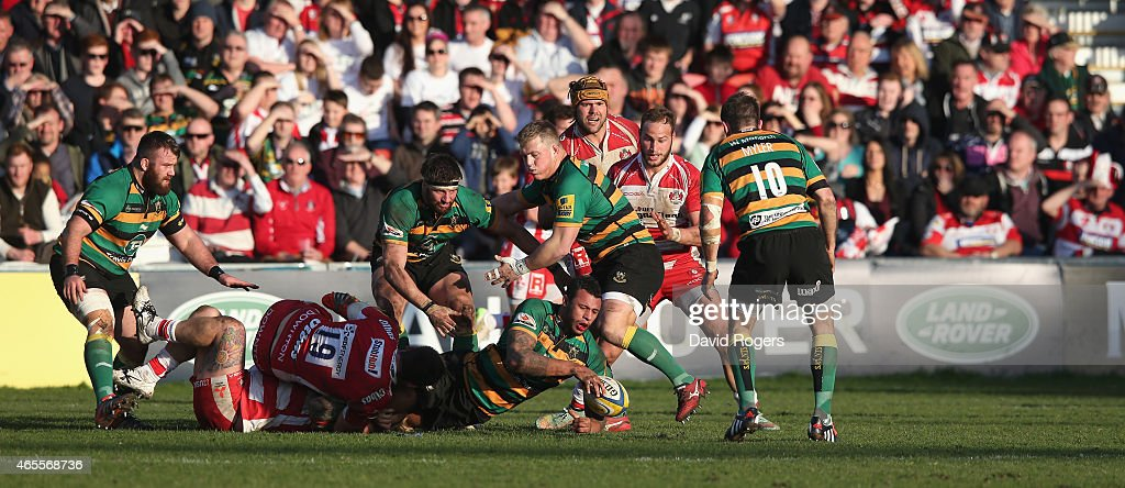 Courtney Lawes of Northampton passes the ball during the Aviva Premiership match Gloucester and Northampton Saints Kingsholm on March 7 2015 in Gloucester, England.