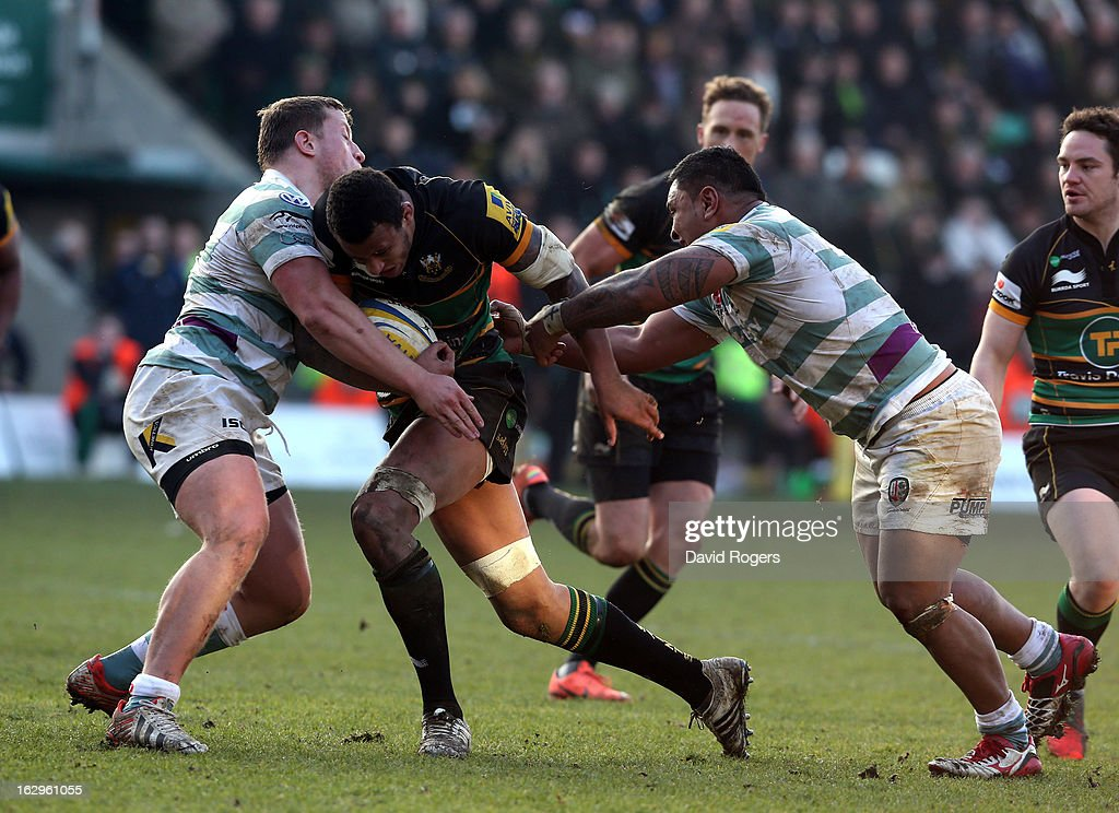 <a gi-track='captionPersonalityLinkClicked' href=/galleries/search?phrase=Courtney+Lawes&family=editorial&specificpeople=5385543 ng-click='$event.stopPropagation()'>Courtney Lawes</a> of Northampton runs upfield during the Aviva Premiership match between Northampton Saints and London Irish at Franklin's Gardens on March 2, 2013 in Northampton, England.