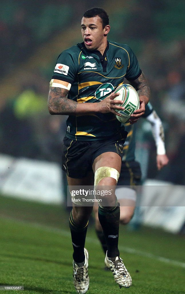 <a gi-track='captionPersonalityLinkClicked' href=/galleries/search?phrase=Courtney+Lawes&family=editorial&specificpeople=5385543 ng-click='$event.stopPropagation()'>Courtney Lawes</a> of Northampton Saints in action during the Heineken Cup match between Northampton Saints and Castres Olympique at Franklin's Gardens on January 11, 2013 in Northampton, England.