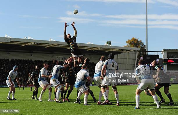 Courtney Lawes of Northampton Saints reaches for the ball in the lineout during the Heineken Cup Round 1 match between Northampton Saints and Glasgow...
