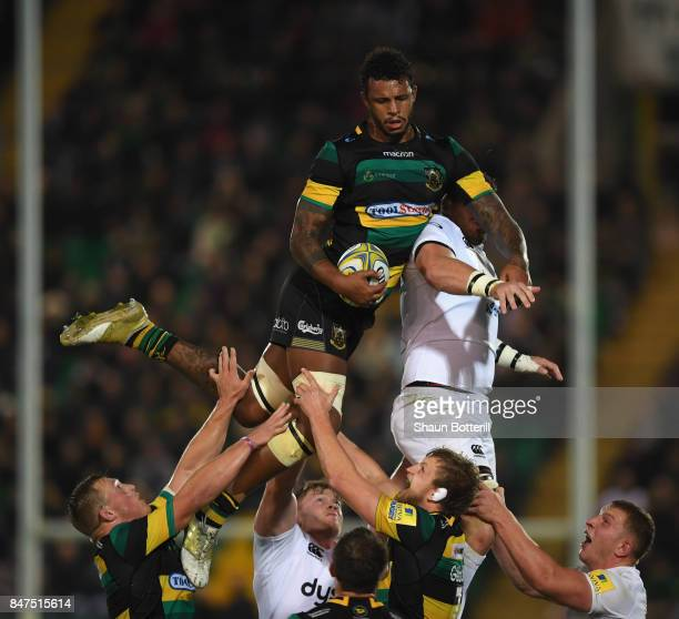 Courtney Lawes of Northampton Saints wins the lineout ball during the Aviva Premiership match between Northampton Saints and Bath Rugby at Franklin's...