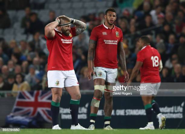 Courtney Lawes of the British Irish Lions and teammates look on during the 2017 British Irish Lions tour match between the Blues and the British...