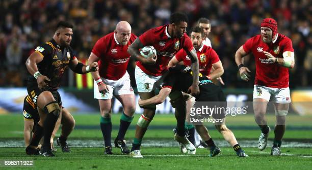 Courtney Lawes of the Lions breaks with the ball during the match between the Chiefs and the British Irish Lions at Waikato Stadium on June 20 2017...