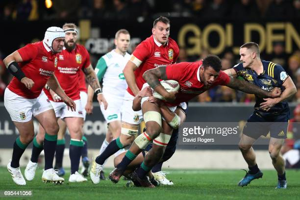 Courtney Lawes of the Lions charges upfield during the 2017 British Irish Lions tour match between the Highlanders and the British Irish Lions at the...