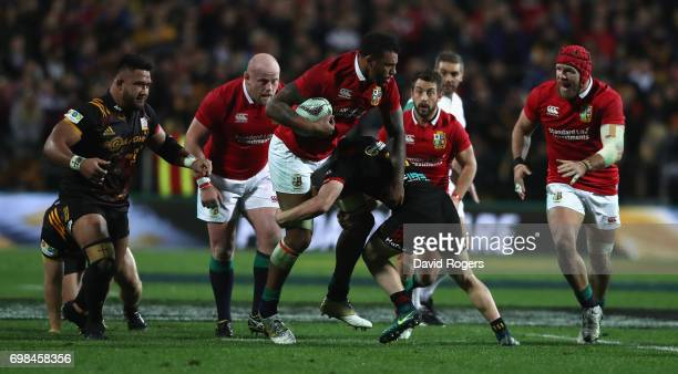 Courtney Lawes of the Lions charges upfield during the match between the Chiefs and the British Irish Lions at Waikato Stadium on June 20 2017 in...