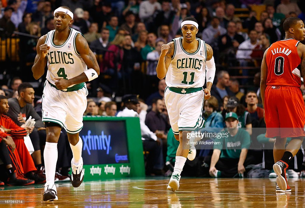 Courtney Lee #11 and Jason Terry #4 of the Boston Celtics celebrate after scoring against the Portland Trail Blazers during the game on November 30, 2012 at TD Garden in Boston, Massachusetts.