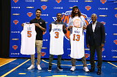 Courtney Lee Joakim Noah and Brandon Jennings and General Manager Steve Mills of the New York Knicks attend a press conference at the Madison Square...