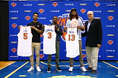 Courtney Lee Joakim Noah and Brandon Jennings and President Phil Jackson of the New York Knicks attend a press conference at the Madison Square...