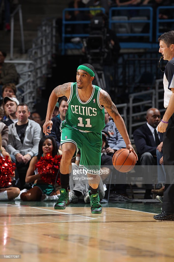Courtney Lee #11 of the Boston Celtics dribbles the ball up court against the Milwaukee Bucks on November 10, 2012 at the BMO Harris Bradley Center in Milwaukee, Wisconsin.