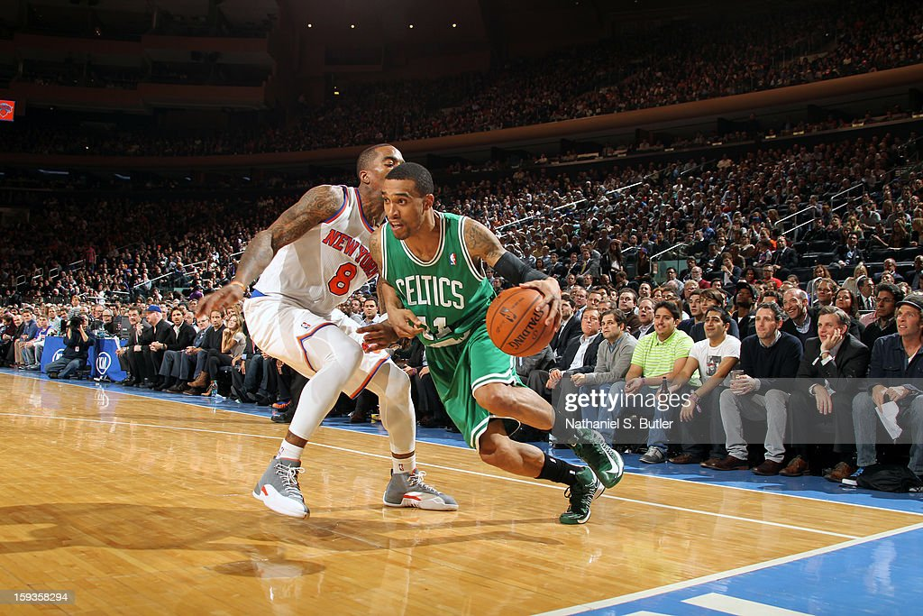 <a gi-track='captionPersonalityLinkClicked' href=/galleries/search?phrase=Courtney+Lee&family=editorial&specificpeople=730223 ng-click='$event.stopPropagation()'>Courtney Lee</a> #11 of the Boston Celtics drives to the basket against <a gi-track='captionPersonalityLinkClicked' href=/galleries/search?phrase=J.R.+Smith&family=editorial&specificpeople=201766 ng-click='$event.stopPropagation()'>J.R. Smith</a> #8 of the New York Knicks on January 7, 2013 at Madison Square Garden in New York City.