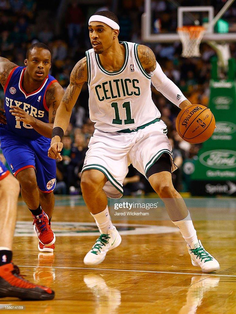 Courtney Lee #11 of the Boston Celtics drives to the basket against the Philadelphia 76ers during the game on December 8, 2012 at TD Garden in Boston, Massachusetts.