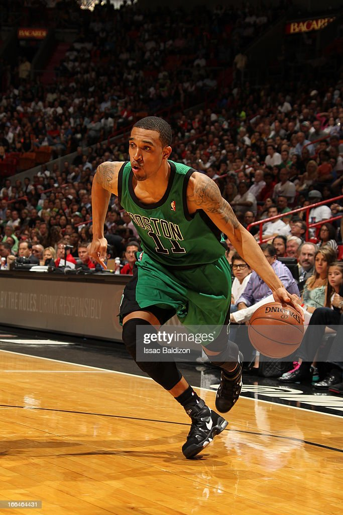 Courtney Lee #11 of the Boston Celtics drives to the basket against the Miami Heat on April 12, 2013 at American Airlines Arena in Miami, Florida.