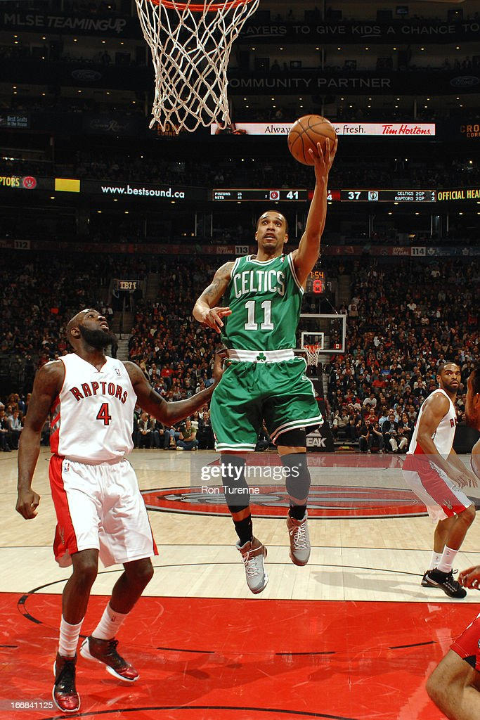 Courtney Lee #11 of the Boston Celtics drives to the basket against the Toronto Raptors on April 17, 2013 at the Air Canada Centre in Toronto, Ontario, Canada.
