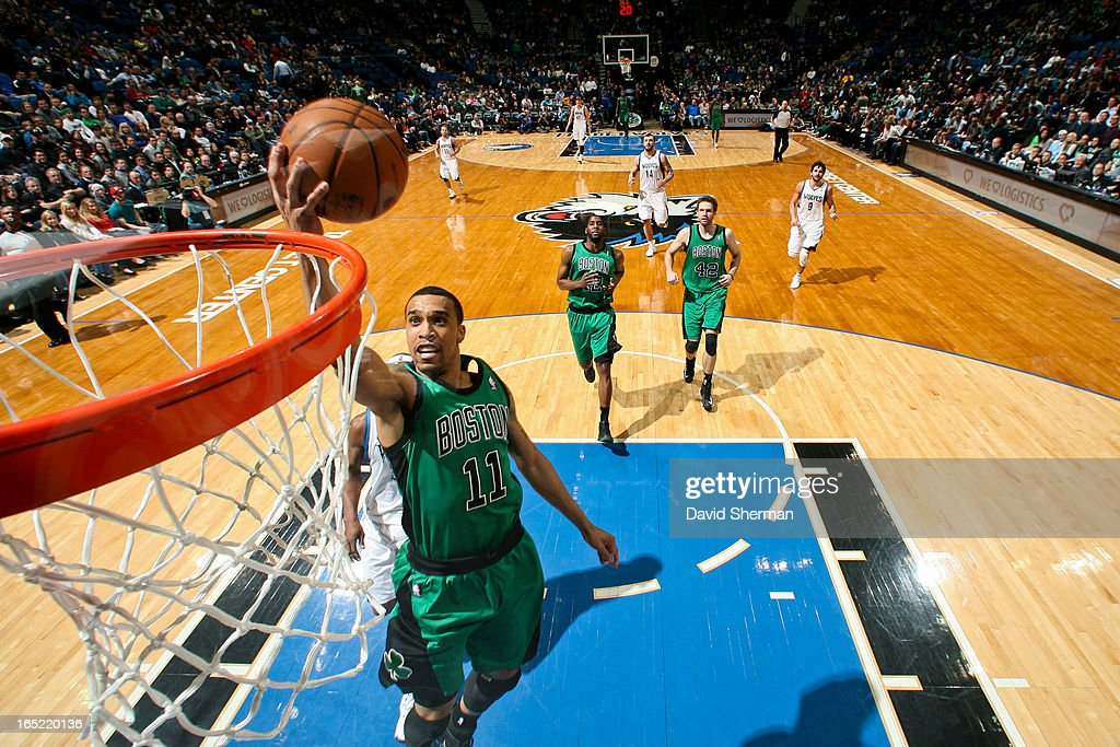 Courtney Lee #11 of the Boston Celtics drives to the basket on a fast break against the Minnesota Timberwolves on April 1, 2013 at Target Center in Minneapolis, Minnesota.