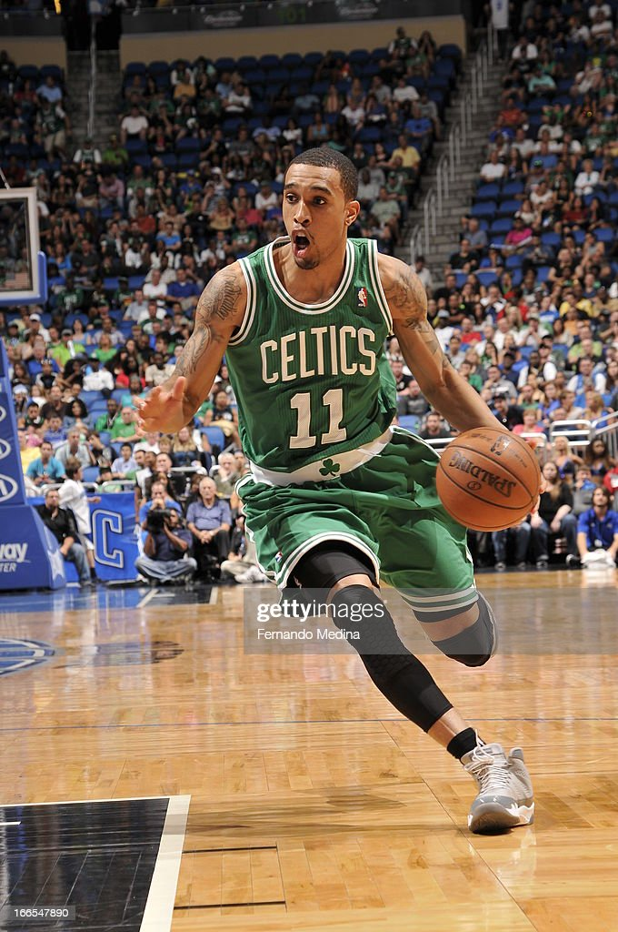 Courtney Lee #11 of the Boston Celtics drives to the rim against the Orlando Magic during the game on April 13, 2013 at Amway Center in Orlando, Florida.