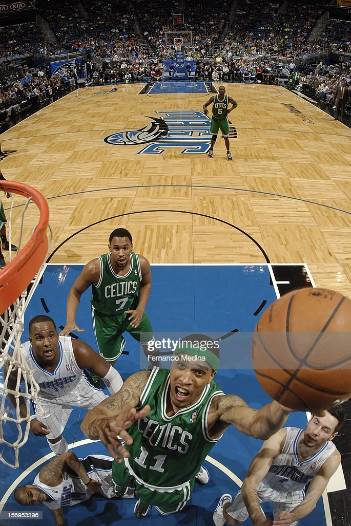 Courtney Lee #11 of the Boston Celtics goes to the basket during the game between the Boston Celtics and the Orlando Magic on November 25, 2012 at Amway Center in Orlando, Florida.