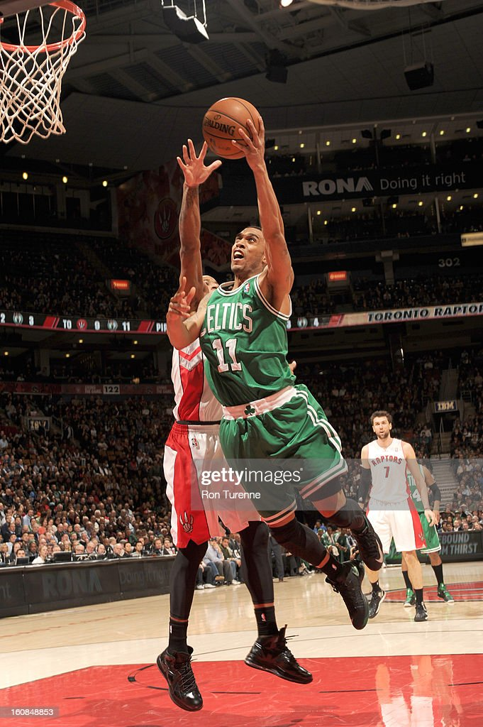 Courtney Lee #11 of the Boston Celtics goes to the basket during the game between the the Toronto Raptors and the Boston Celtics on February 6, 2013 at the Air Canada Centre in Toronto, Ontario, Canada.