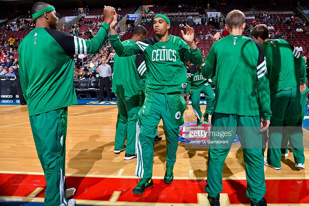 Courtney Lee #11 of the Boston Celtics greets teammates before playing the Philadelphia 76ers during a pre-season game at the Wells Fargo Center on October 15, 2012 in Philadelphia, Pennsylvania.