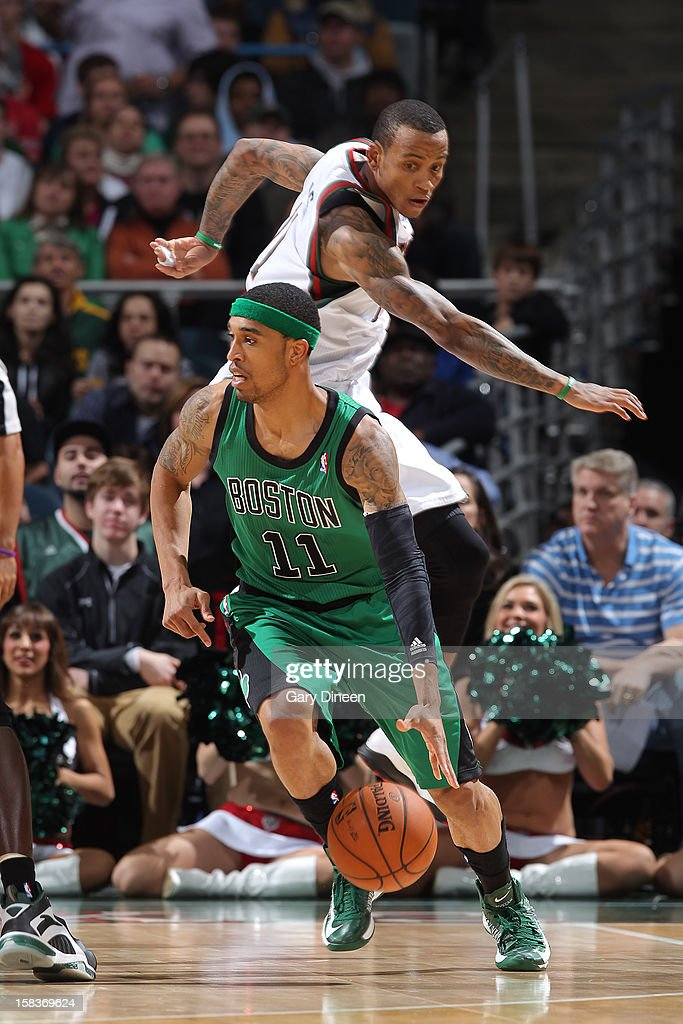 Courtney Lee #11 of the Boston Celtics handles the ball against Monta Ellis #11 of the Milwaukee Bucks on December 1, 2012 at the BMO Harris Bradley Center in Milwaukee, Wisconsin.