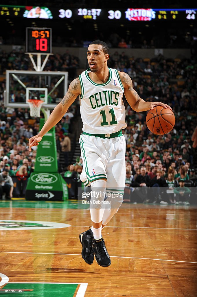Courtney Lee #11 of the Boston Celtics handles the ball against the Detroit Pistons on April 3, 2013 at the TD Garden in Boston, Massachusetts.