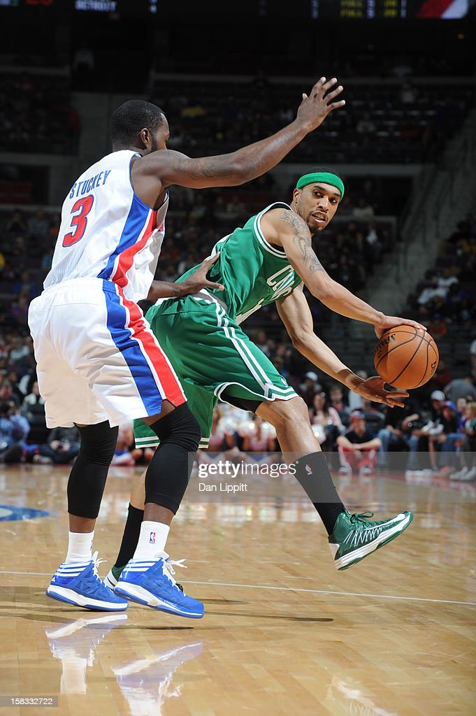 Courtney Lee #11 of the Boston Celtics looks to pass around Rodney Stuckey #3 of the Detroit Pistons on November 18, 2012 at The Palace of Auburn Hills in Auburn Hills, Michigan.