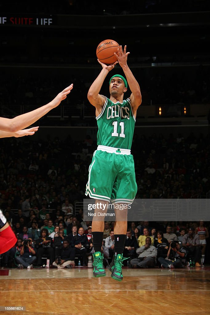 <a gi-track='captionPersonalityLinkClicked' href=/galleries/search?phrase=Courtney+Lee&family=editorial&specificpeople=730223 ng-click='$event.stopPropagation()'>Courtney Lee</a> #11 of the Boston Celtics shoots against the Washington Wizards at the Verizon Center on November 3, 2012 in Washington, DC.