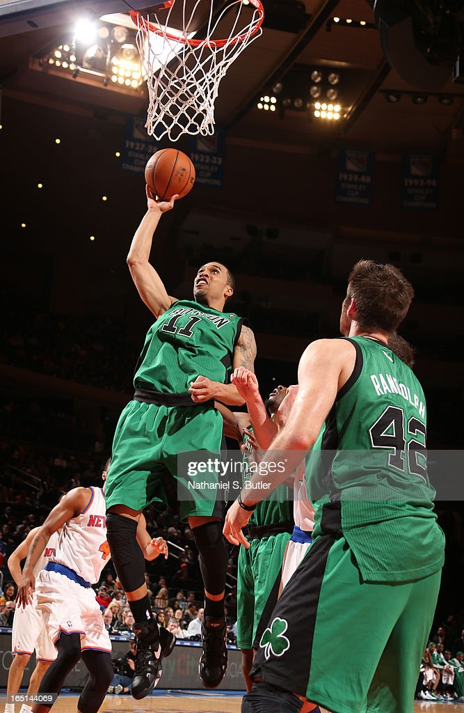 Courtney Lee #11 of the Boston Celtics shoots in a game against the New York Knicks on March 31, 2013 at Madison Square Garden in New York City.