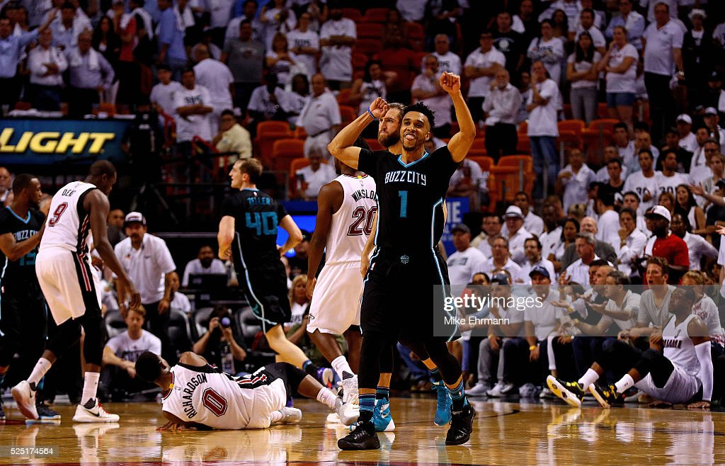 Courtney Lee #1 of the Charlotte Hornets celebrates winning Game 5 of the Eastern Conference Quarterfinals of the 2016 NBA Playoffs against the Miami Heat at American Airlines Arena on April 27, 2016 in Miami, Florida.