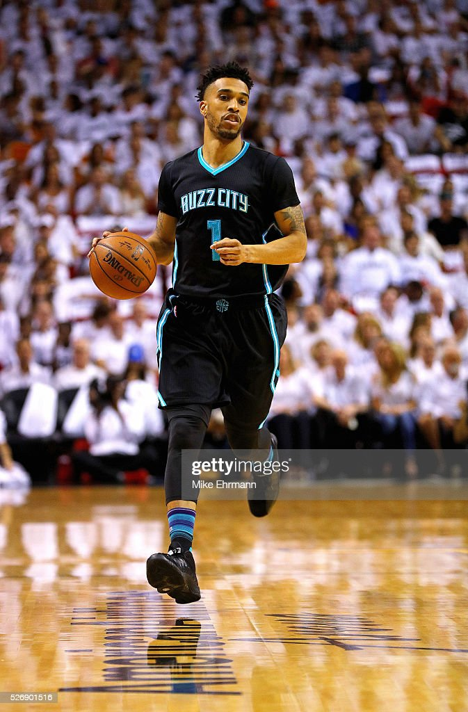 Courtney Lee #1 of the Charlotte Hornets dribbles up the court during Game Seven of the Eastern Conference Quarterfinals of the 2016 NBA Playoffs at American Airlines Arena on May 1, 2016 in Miami, Florida.