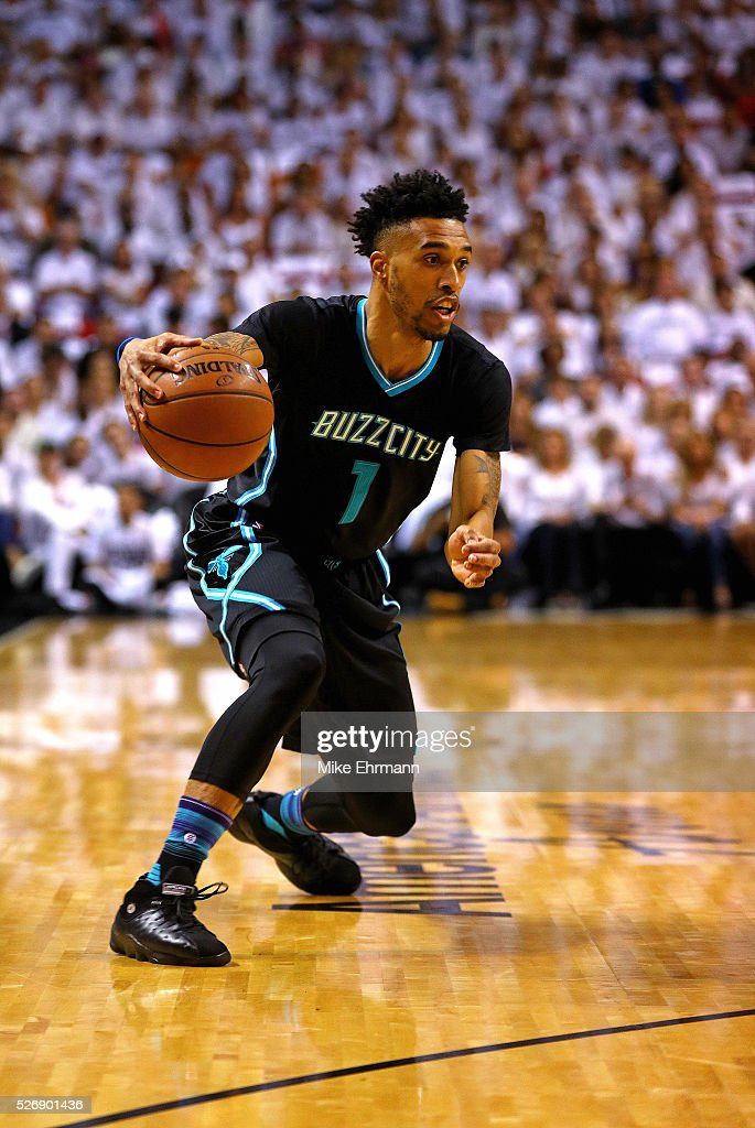 Courtney Lee #1 of the Charlotte Hornets drives to the basket during Game Seven of the Eastern Conference Quarterfinals of the 2016 NBA Playoffs at American Airlines Arena on May 1, 2016 in Miami, Florida.