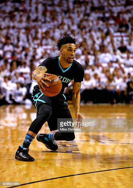 Courtney Lee of the Charlotte Hornets drives to the basket during Game Seven of the Eastern Conference Quarterfinals of the 2016 NBA Playoffs at...