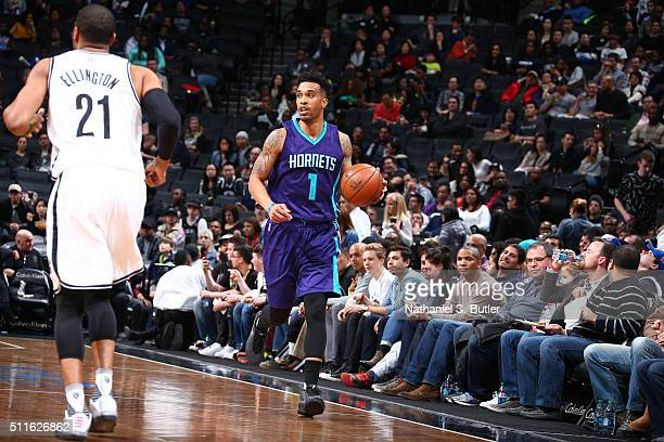 Courtney Lee of the Charlotte Hornets handles the ball against the Brooklyn Nets on February 21 2016 at Barclays Center in Brooklyn New York NOTE TO...