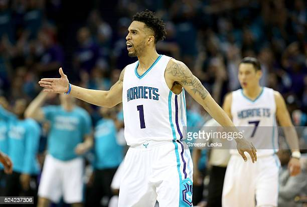 Courtney Lee of the Charlotte Hornets reacts after a play against the Miami Heat during game four of the Eastern Conference Quarterfinals of the 2016...