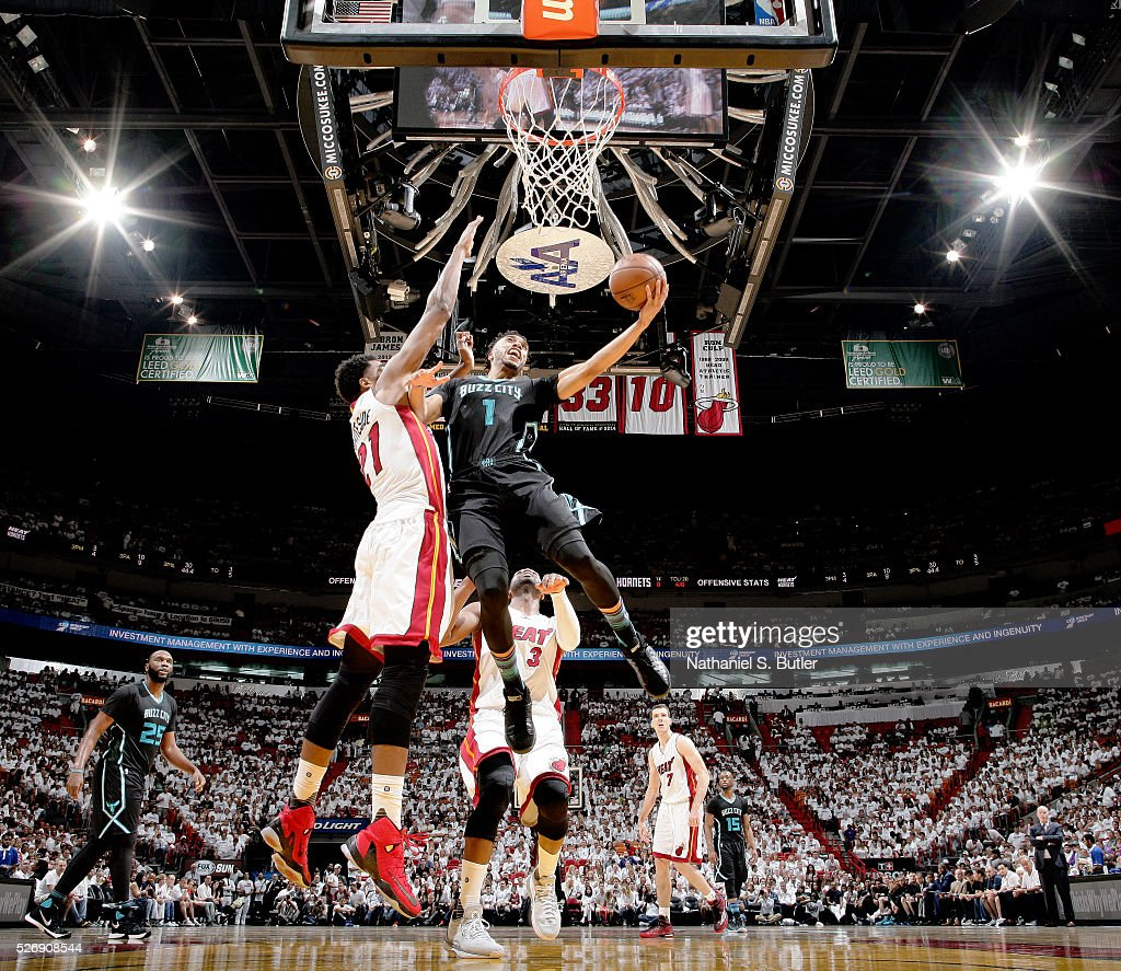 <a gi-track='captionPersonalityLinkClicked' href=/galleries/search?phrase=Courtney+Lee&family=editorial&specificpeople=730223 ng-click='$event.stopPropagation()'>Courtney Lee</a> #1 of the Charlotte Hornets shoots the ball against the Miami Heat in Game Seven of the Eastern Conference Quarterfinals during the 2016 NBA Playoffs on May 1, 2016 at American Airlines Arena in Miami, Florida.