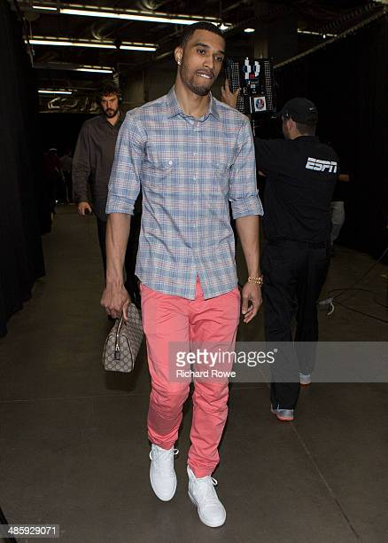 Courtney Lee of the Memphis Grizzlies arrives before Game One of the Western Conference Quarterfinals against the Oklahoma City Thunder in the NBA...