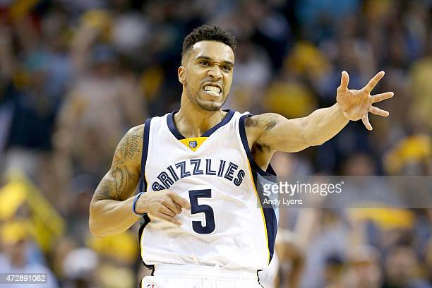 Courtney Lee of the Memphis Grizzlies celebrates after making a basket against the Golden State Warriors during Game three of the Western Conference...