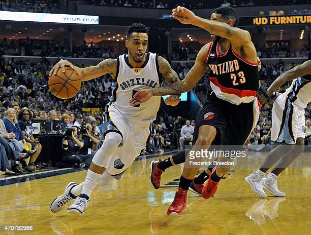 Courtney Lee of the Memphis Grizzlies drives against Allen Crabbe of the Portland Trailblazers during the first quarter of Game Two of the first...