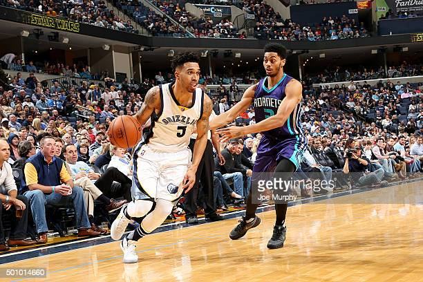 Courtney Lee of the Memphis Grizzlies drives to the basket during the game against the Charlotte Hornets on December 11 2015 at FedExForum in Memphis...