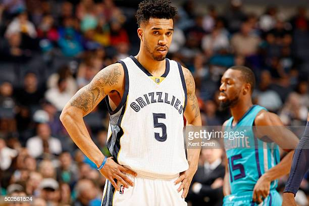 Courtney Lee of the Memphis Grizzlies looks on during the game against the Charlotte Hornets on December 26 2015 at Time Warner Cable Arena in...