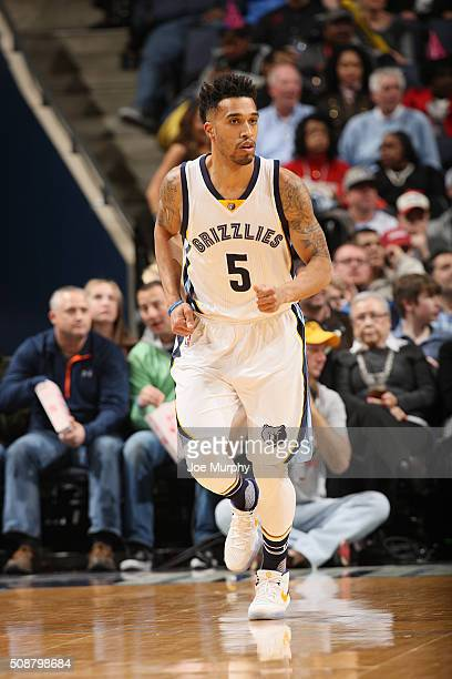 Courtney Lee of the Memphis Grizzlies runs the court against the Dallas Mavericks on February 6 2016 at FedExForum in Memphis Tennessee NOTE TO USER...