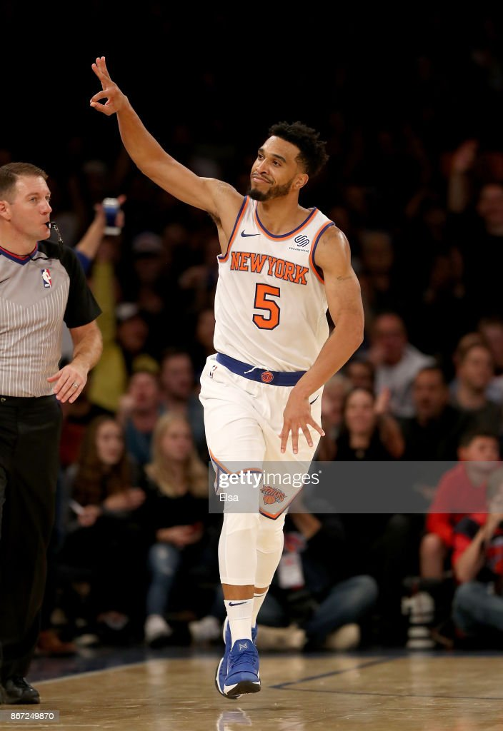 Courtney Lee #5 of the New York Knicks celebrates his three point shot in the second half against the Brooklyn Nets at Madison Square Garden on October 27, 2017 in New York City.