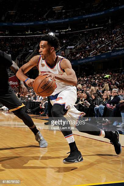 Courtney Lee of the New York Knicks drives to the basket against the Cleveland Cavaliers on October 25 2016 at Quicken Loans Arena in Cleveland Ohio...