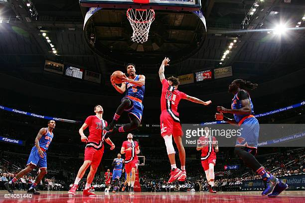 Courtney Lee of the New York Knicks goes for a lay up against the Washington Wizards during the game on November 17 2016 at Verizon Center in...
