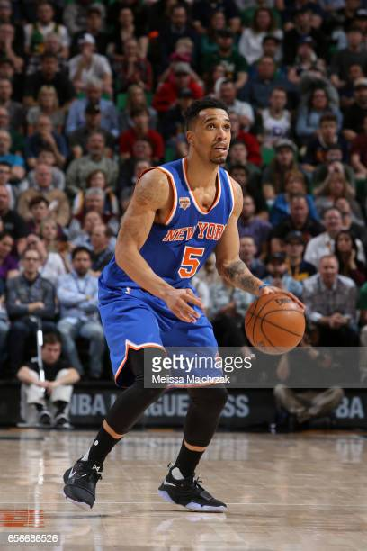 Courtney Lee of the New York Knicks handles the ball against the Utah Jazz on March 22 2017 at vivintSmartHome Arena in Salt Lake City Utah NOTE TO...